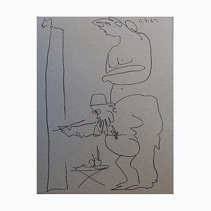 Litografia originale di Pablo Picasso, il pittore e il suo modello, 1962