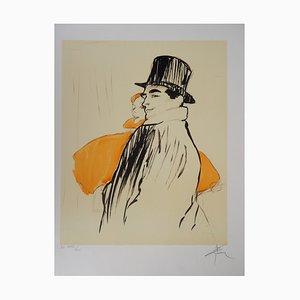 René GRUAU - Elegantes Paar - handsignierte Lithographie