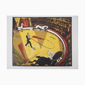 Robert Bonfils , at the Circus, 1927, Original Signed Woodcut