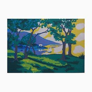Robert PICHON (attribué à) - La baie ensoleillée, gouache originale (Belle époque 1920/30)