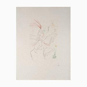 Lithographie Viviane Et Lancelot Original par Salvador Dali