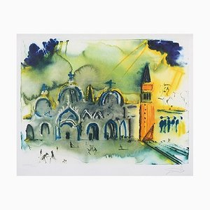 Salvador Dalì, Venice, (the Basilica and the Bell Tower), lithography, 70x100 cm, 1978