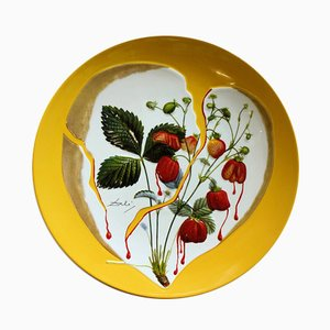 DALI Salvador - Strawberries 'Hearts, original signed porcelaine plate