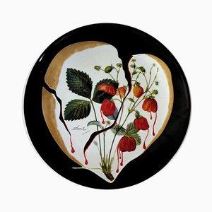 Salvador DALI - Coeur de fraises - Signed porcelain plate