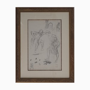 Théophile-Alexandre STEINLEN - The chase of the bedbugs - Signed drawing
