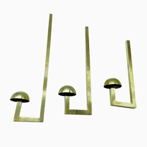 Mid-Century Brass Coat Wall Hooks, 1960s, Set of 3