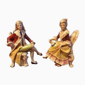 Vintage German Porcelain Figures, 1950s, Set of 2