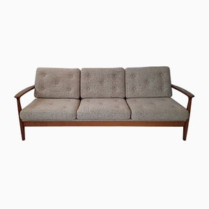 Vinitage German Cherrywood and Beige Wool Daybed from Straub, 1970s