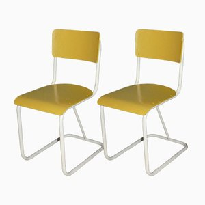 Mid-Century Industrial Style Yellow and White Metal and Wood Dining Chairs, 1950s, Set of 2