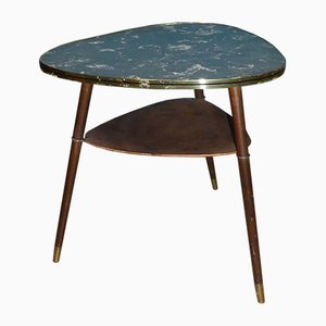 Mid-Century Formica Side Table with Shelf, 1950s