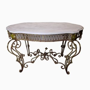 Antique French Painted Wrought Iron and Marble Table