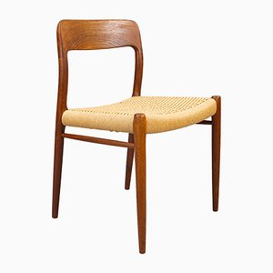 Danish Teak and Papercord Model 75 Dining Chairs by Niels Otto Møller for J.L. Møllers, 1960s, Set of 6
