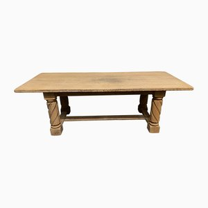French Bleached Oak Farmhouse Dining Table, 1870s