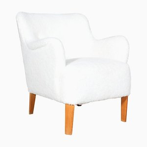 Artificial Sheepskin Lounge Chair by Peter Hvidt, 1940s