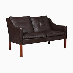 Black Leather Model 2208 2-Seater Sofa by Børge Mogensen for Fredericia, Unknown