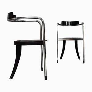 Italian Chrome Dining Chairs by David Palterer for Zanotta, 1980s, Set of 2