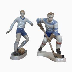Fußball und Hockey Figuren aus Porzellan von Dux, 1940er, 2er Set