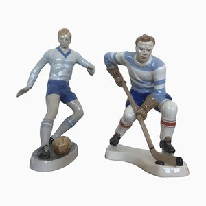 Porcelain Football and Hockey Player Figurines from Dux, 1940s, Set of 2