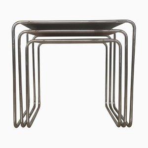 Tables Gigognes Modèle B9 Colorées Bauhaus par Marcel Breuer pour Mücke & Melder, 1930s