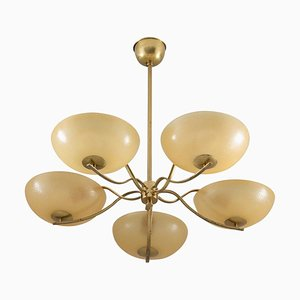Art Deco Swedish Brass and Glass Chandelier, 1930s