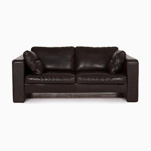 Black Leather 2-Seater Conseta Sofa from Cor