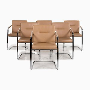 Beige Leather Model 625 Cantilever Chairs from Rolf Benz, Set of 6