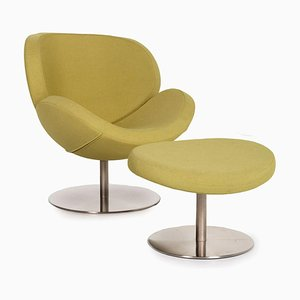 Green Lime Swivel Armchair and Foottool Set from BoConcept