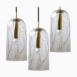 Lampe à Suspension en Verre Texturé par Doria Leuchten Germany, 1969