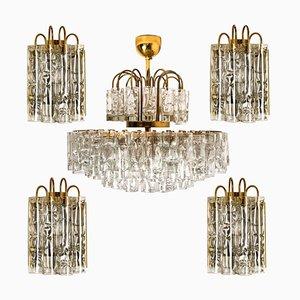 Brass Wall Lights & Chandelier by Doria Leuchten Germany, 1960s, Set of 5