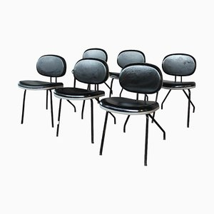 Italian industrial Black Chairs, Set of 6
