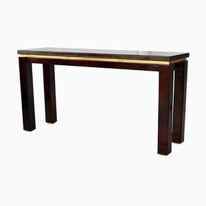 Italian Goatskin Tobacco Console Table by Aldo Tura, 1970s