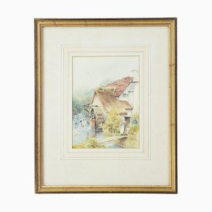 Watercolor Watermill by C. W Morsley, 1990s
