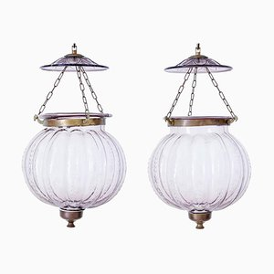 Antique French Glass Hanging Lanterns, Set of 2
