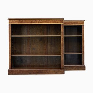 Burr Walnut Low Open Bookcases, Set of 2
