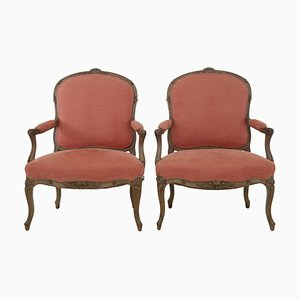 19th Century French Carved Walnut Armchairs, Set of 2