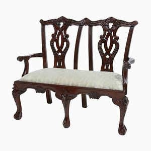 Chippendale Style Mahogany Miniature 2-Seat Children's Chair