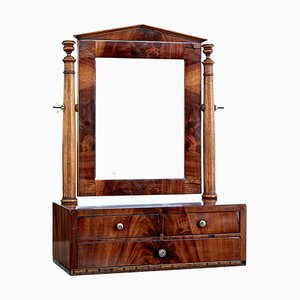 19th Century Empire Inlaid Mahogany Vanity Mirror