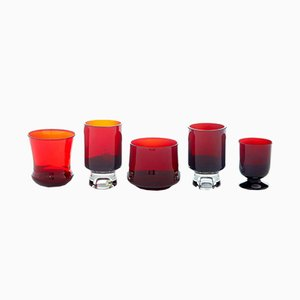 Scandinavian Red Art Glass by Monica Bratt, 1950s, Set of 5