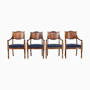 19th Century Russian Mahogany Dining Chairs, Set of 4