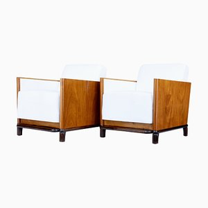 Art Deco Walnut Club Armchairs, Set of 2