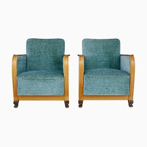 Scandinavian Elm and Birch Armchairs, 1940s, Set of 2
