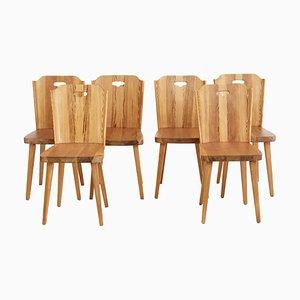 Swedish Pine Dining Chairs, 1960s, Set of 6