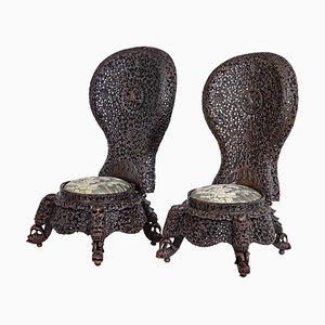 19th Century Anglo Indian Carved Hardwood Armchairs, Set of 2