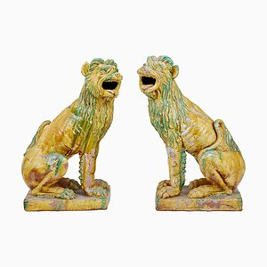 Vintage Tall Indonesian Salt Glazed Decoration Dogs, Set of 2