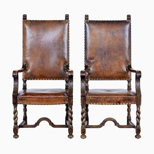 19th Century Carved Oak and Leather Armchairs, Set of 2