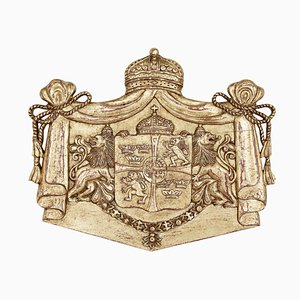 Vintage Carved Wood and Gilt Armorial Plaque