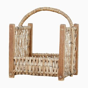 19th Century Pine and Wicker Log Basket