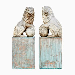 Carved Solid Wood Lions, Set of 2