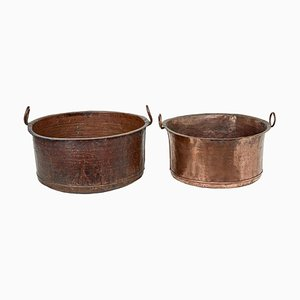 Large Victorian Copper Cooking Vessels, Set of 2