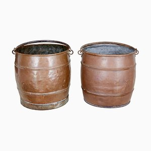 19th Century Copper Buckets, Set of 2